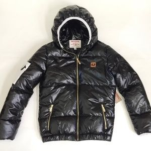 NWT True Religion Black Quilted Puffer Jacket XS